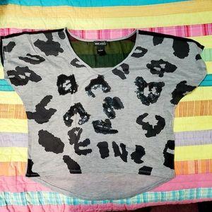 Wet Seal Cheetah Print Sequin top